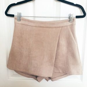 Missguided Tan Suede Skort with Pocket & Zip US 2